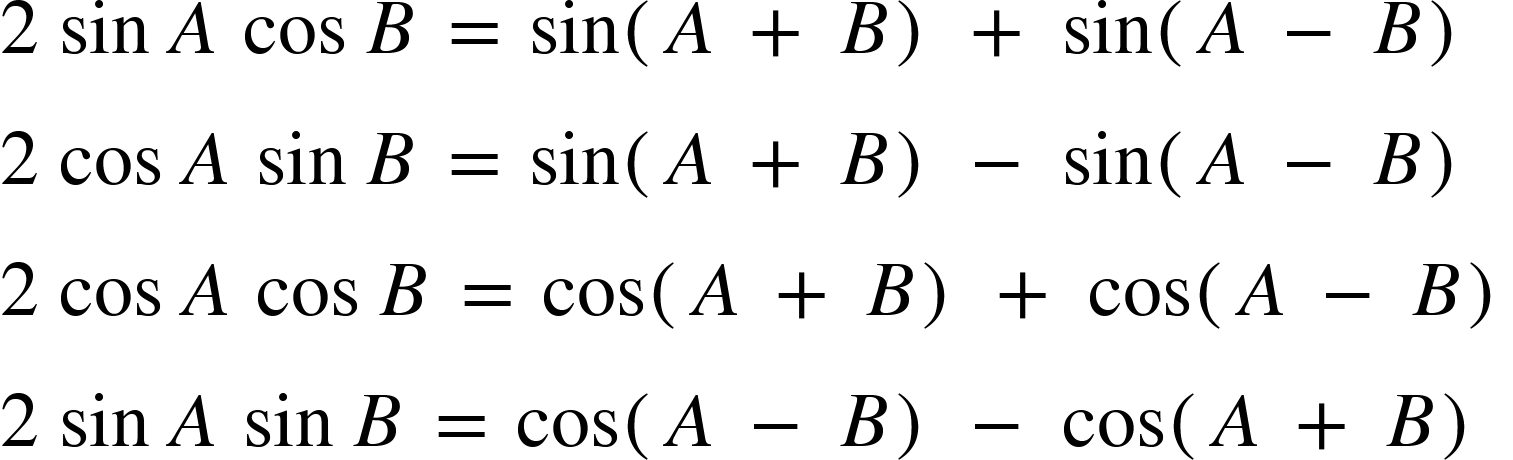 Product to Sum of Two Angles