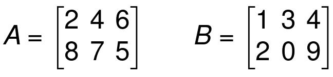 addition of matrices