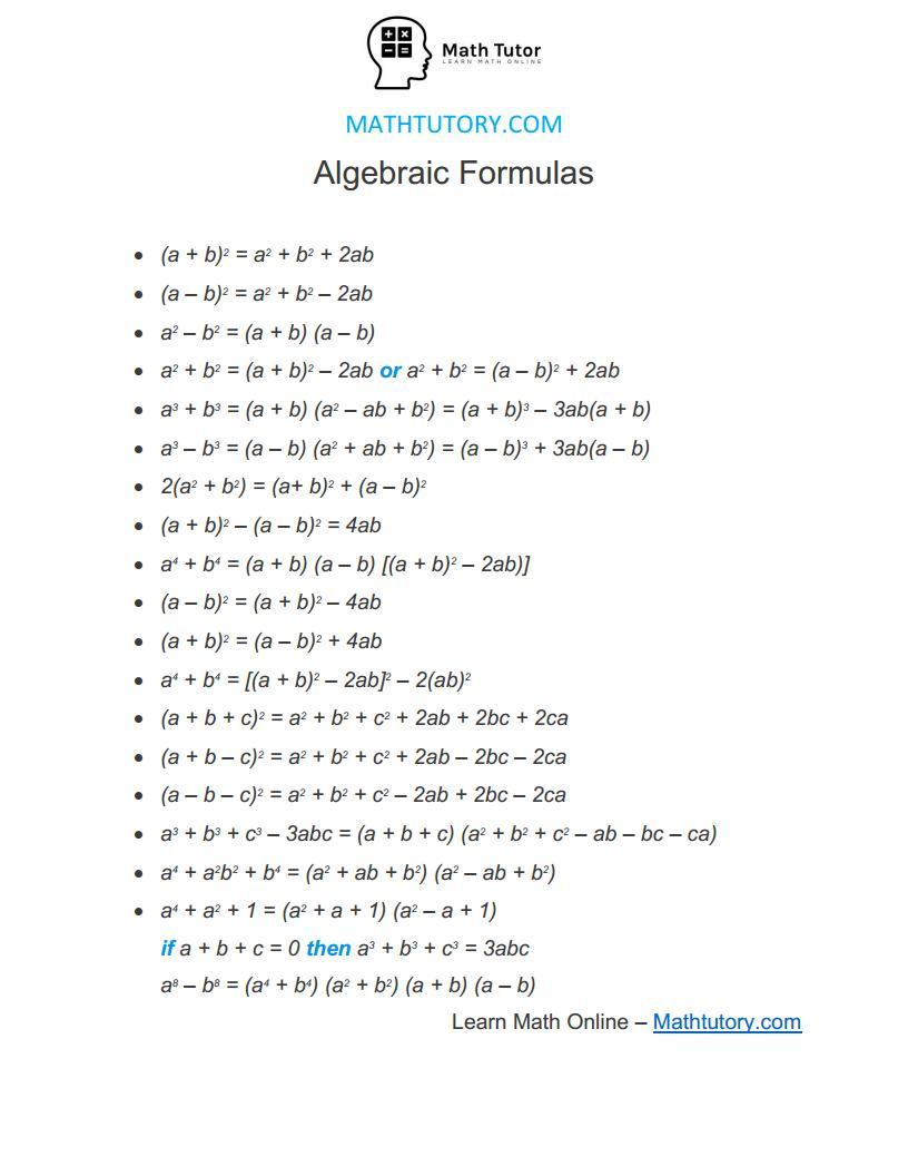 algebraic formulas list