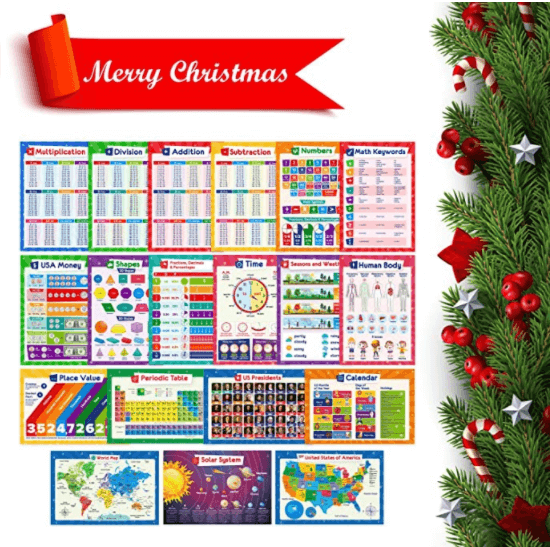 Educational Posters for Kids - Multiplication Chart Table, Periodic Table, USA Map, World Map, Solar System, Days of the Week, Division, Addition, Homeschool Supplies, Classroom Decorations - 19x13